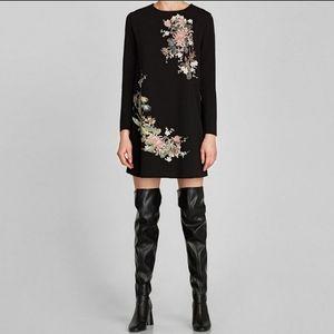 Zara RUBBERISED DRESS Black Long Sleeve Small